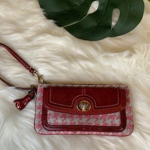 Coach Vintage Berry Suede Houndstooth Wristlet